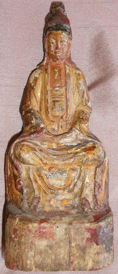 Divinité asiatique Bois polychrome & or - GUANYIN en méditation - reliquaire