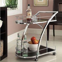 Chrome Metal with Black Tempered Glass Bar/ Wine/ Tea Serving Cart