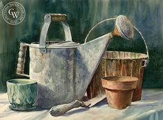 The Watering Can, art by John Bohnenberger – California Watercolor