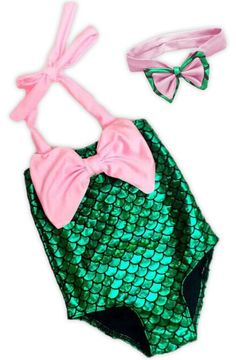 Pink bow green mermaid swimsuit to match with our other items or your own.