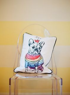 acrylic chair with pillow