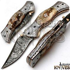 Andy Alm New Custom Made USA Damascus Steel Folding Knife, Ram Horn Handle F-72 #AndyAlm