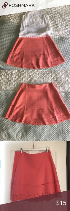 Great coral skirt Great skirt for the summer! Falls over the knee LOFT Skirts Midi