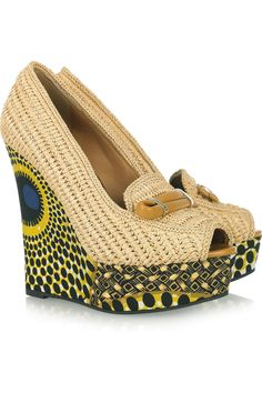 Burberry Prorsum  Woven raffia and printed wedge pumps