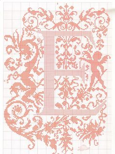 "cross stitch alphabet in 2 colors- very ornate monogram 26 single letters -- ""E'"" #5"