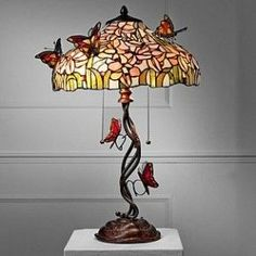 Stained Glass Butterfly Lamp | tulip table lamp with 3d butterflies butterfly motif stained glass ...