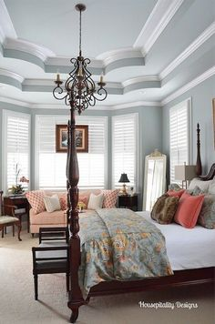 Winter Bedroom decor to Spring decor Winter Bedroom Decor, Traditional Bedroom, Traditional Homes, Traditional Kitchens, Home Bedroom, Bedroom Ceiling, Master Bedrooms, Bedroom Wall, Bedroom Ideas