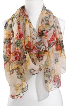 Lulu Sheer Needlepoint Floral Scarf  $18.00  Very light and pretty #scarves #accessories #fashion #womensfashion