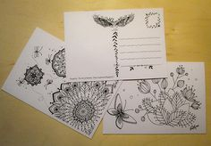 Postcards - Instant Download - Coloring Postcard - Doodle - Mandala - Art Therapy