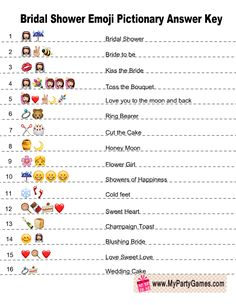 Free Printable Emoji Pictionary Bridal Shower Game Answer Key The Swanky Rooster is venturing into the wedding arena. Check out our new printable wedding planner. Bridal Shower Games Prizes, Bridal Shower Planning, Bridal Games, Printable Bridal Shower Games, Wedding Shower Games, Bachelorette Party Games, Wedding Games, Couple Shower Games, Game Prizes