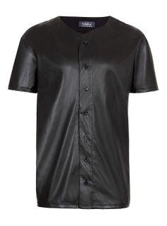Topman leather look baseball shirt