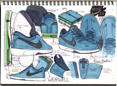 Sketches of the Eric Koston 1 for Nike SB #sketches #sneakers #nike