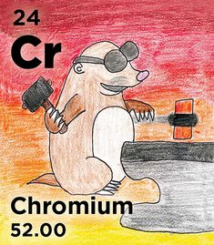 Cr - Chromium is responsible for the red color of rubies, the green color of emerald, and (until recently) the yellow color of school buses Green Colors, Red Color, School Buses, Chemistry, Periodic Table, Emerald, Yellow, Board, Fictional Characters