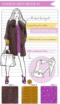 purple and golden rod fashion illustration