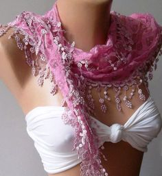 Pink  Elegance  Shawl  Scarf with Lacy Edge by womann on Etsy,