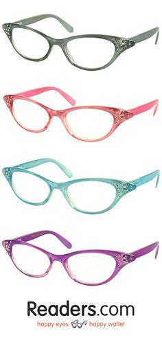 Get ready for the sock-hop with these retro readers! The Betty has a cat-eye retro frame with rhinestone accents that really sparkle. The lightweight plastic frame comes in a variety of pastel or neutral colors, and spring hinges keep these readers comfortable | Readers.com | #glasses