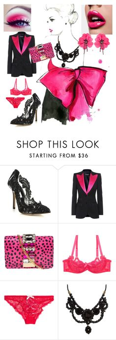 """Big Bow"" by sarahcanavan ❤ liked on Polyvore featuring Oscar de la Renta, Dolce&Gabbana, GEDEBE, L'Agent By Agent Provocateur, Gucci and Lanvin"