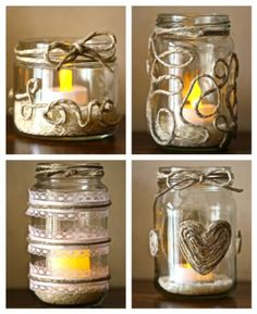 Ideas for some DIY recycled glass jars. LOVE the twine!