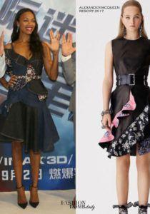 Zoe Saldana attended the Star Trek: Beyond Asia Tour in an  Alexander McQueen Resort 2017 Denim Embellished Ruffle Dress