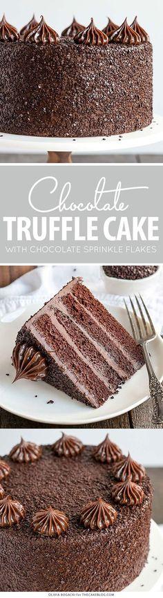 Chocolate Truffle Cake - a chocolate layer cake recipe with dense, moist chocolate cake, silky chocolate truffle frosting and chocolate flakes   by Olivia Bogacki for TheCakeBlog.com