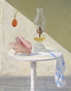 Still Life with oil lamp 2011 Oil on canvas 39 x 52 in Private Collection