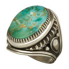 """Bague #Navajo #turquoise #pilotmountain"""" et #argent. Available online. http://www.harpo-paris.com/fr/ #Harpo #bijoux #homme #bague #amérindien #bagueturquoise #navajo"""