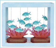 Aquarium Papercraft - Blue-Green Puller