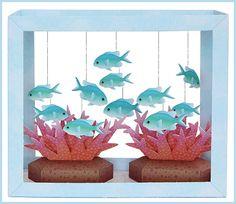 Aquarium Papercraft - Blue-Green Puller
