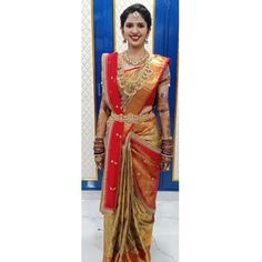 Image may contain: one or more people and people standing Half Saree Designs, Fancy Blouse Designs, Bridal Blouse Designs, Lehenga Saree Design, Bridal Lehenga Choli, Wedding Sarees, Saree Wearing Styles, Saree Styles, Kalamkari Dresses