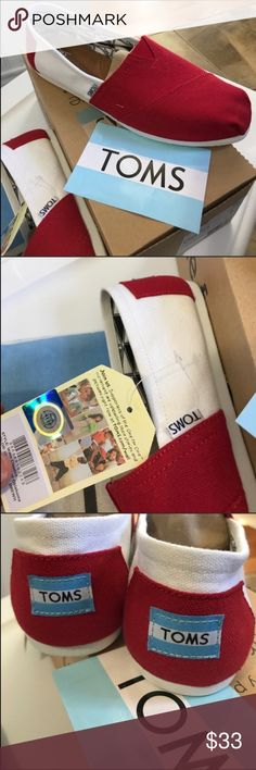 TOMS-U. Of Oklahoma colors-Classic canvas slip ons TOMS CLASSICS, UNIVERSITY OF OKLAHOMA, WOMENS, RED/WHITE, New in box. TOMS-U. Of Oklahoma colors-Classic canvas slip ons Toms Shoes