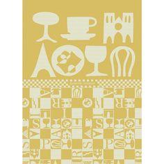 Tea Towel, Bistro, Yellow | Garnier-Thiebaut  ~  Sélection mois du blanc - Torchon Garnier-Thiebaut - Modèle : Bistrot - Torchon en coton - Coloris : jaune