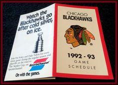 1992-93 CHICAGO BLACKHAWKS SPORTS CHANNEL HOCKEY POCKET SCHEDULE FREE SHIPPING #Pocket