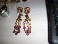 Gorgeous 1928 Brand Jewelry Incredible Clip Earrings Amethyst Glass #1928BrandJewelry #DangleShoulderDusters