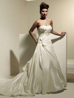 Empire Waist Strapless Taffeta Wedding Dress Style