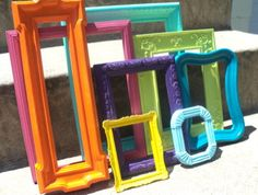 Colorful Picture Frame Set with Mirror by melissap6908 on Etsy, $80.00
