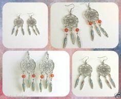 Pendientes-de-mujer-de-plata-tibetana-Atrapasuenos-con-plumas-Dreamcatcher