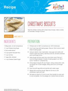 Christmas Biscuits - Start the children cooking with a basic biscuit recipe like this one. You can also make different flavours using chocolate, orange or lemon. This version is gluten free...