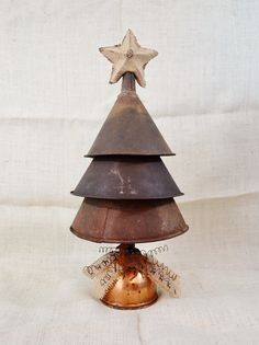 Large Metal Funnel Christmas Tree by RelicsAndRhinestones on Etsy