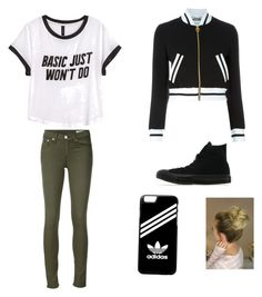 """""""Untitled #6"""" by veena-eazy ❤ liked on Polyvore featuring H&M, rag & bone/JEAN, Moschino, Converse and adidas"""