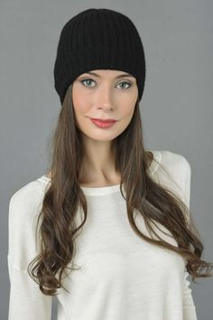 77fc0c13d26 Pure Cashmere Fisherman Ribbed Beanie Hat in Black Italy in Cashmere