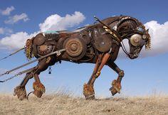 Magnificent scrap metal Draft Horse sculpture by John Lopez.  <3