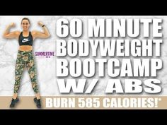 60 Minute Bodyweight Bootcamp with Abs Workout 🔥Burn 585 Calories! Interval Training Workouts, High Intensity Interval Training, Workout Routines, Cardio, Daily Home Workout, At Home Workouts, Outdoor Workouts, 30 Day Transformation, Glute Bands