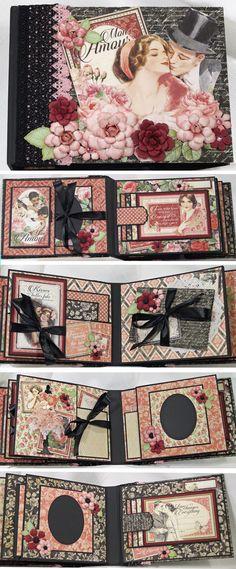 Graphic 45 Mon Amour scrapbook Mini Album http://www.ebay.com/itm/262089391021?ssPageName=STRK:MESELX:IT&_trksid=p3984.m1555.l2649                                                                                                                                                                                 Más