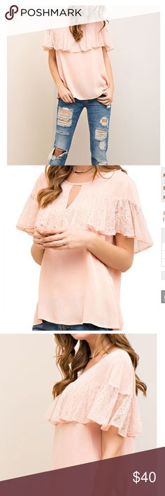 ❤️COMING SOON!!❤️ The Spring MUST HAVE Top!! Light peach crinkled top with lace cape detail is a must ADD to your Spring wardrobe!   Available in S-M-L.   ⚡️Comment below to be notified when it's in stock.  Tops Blouses