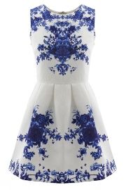 Floral Jacquard Sleeveless A-line Skater Dress Product Code: OP38249 Was $32.90   now $19.90