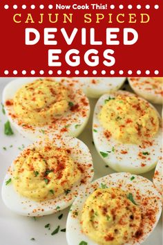Cajun Spiced Deviled Eggs are a twist on classic deviled eggs! They're full of flavor and have just a hint of spice that makes them extra delicious. Watch them disappear at your next party! #cajundeviledeggs #deviledeggs #deviledeggrecipe | nowcookthis.com