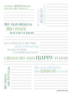 Father's Day Questionnaire Printable