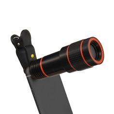 Smart Phone Camera Lens Kit, High-Grade 12X Universal Optical Zoom Lens Macro Lens Focus Telescope Clip-on Camera Lens for iPhone 7 / 6S, Galaxy S6 (Black)