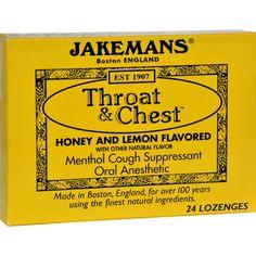 Jakemans Throat and Chest Lozenges - Honey and Lemon - Case of 24 - 24 Pack