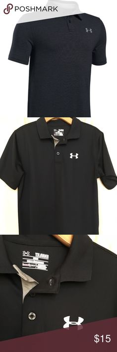 🖤UNDER ARMOUR BOYS BLACK POLO SIZE Y XL 🖤 UNDER ARMOUR Boys short sleeve polo in Black with white logo on chest and back shoulder. Heat Gear fabric wicks away sweat and dries quickly. Light weight and comfortable. Perfect for golf, dress, casual, or school uniform.  I purchased this for my 14 year old son but he has outgrown too quickly.  First photo is from online source. Size is Youth XL 🖤 Under Armour Shirts & Tops Polos